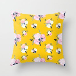 Spring Florals on Mustard Yellow Throw Pillow