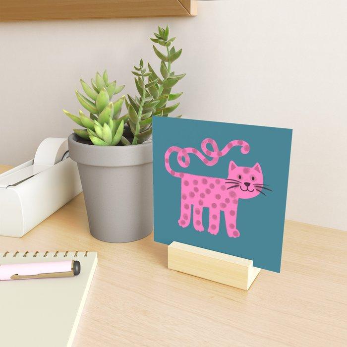 Pink dotty cat Mini Art Print