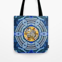Raven Steals the Sun Pacific Northwest Coast Native Psychedelic Mandala Tote Bag