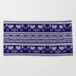 White and Navy Blue Elephant Pattern Beach Towel