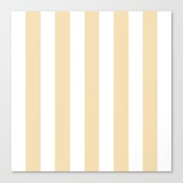 Wheat pink - solid color - white vertical lines pattern Canvas Print