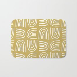 Handdrawn Rainbows in Mustard Yellow Bath Mat