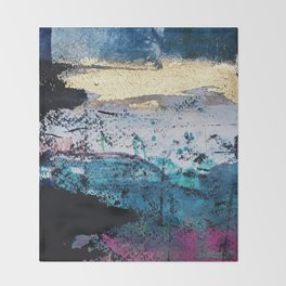 Twilight: a beautiful, abstract watercolor + mixed-media piece in blue, gold, purple, pink, + black Throw Blanket