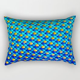 Ocean Blue Mermaid Scales -Beautiful Abstract Glitter Pattern Rectangular Pillow