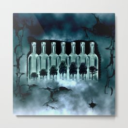 Tree Bottles Metal Print