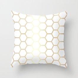 Honeycomb - Gold #170 Throw Pillow