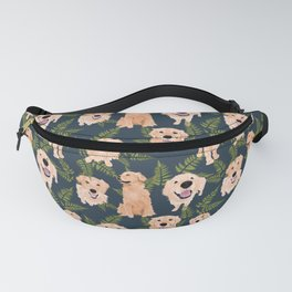 Golden Retrievers and Ferns on Navy Fanny Pack