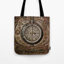 Brown Grunge Vintage Steampunk Clock Tote Bag