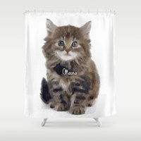 meow Shower Curtains featuring Meow! by 83 Oranges™