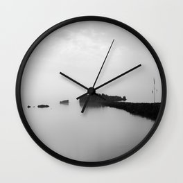 Foggy Harbor North Shore BW Wall Clock