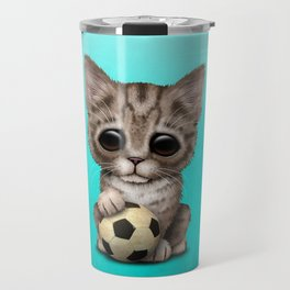 Cute Kitten With Football Soccer Ball Travel Mug