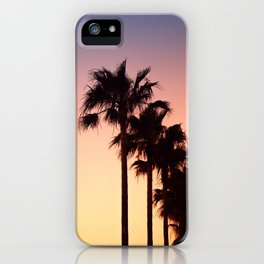 Row of Palm Trees at Sunset on Mallorca, Balearic Islands, Spain iPhone Case