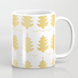 Luxe Gold Christmas Trees Pattern, Seamless Vector Background, Drawn Coffee Mug