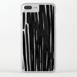 Dream Stripes in Black and Grey Clear iPhone Case