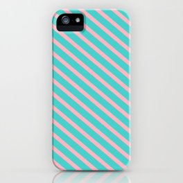 Turquoise & Light Pink Colored Lines/Stripes Pattern iPhone Case