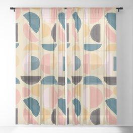 multicolor semi circle watercolor Sheer Curtain