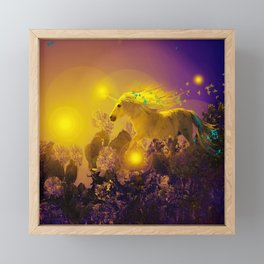 Unicorn In The Night Of Glow - My Fantasy Garden #decor #society6 #buyart Framed Mini Art Print