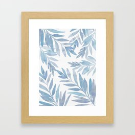 Muted Blue Palm Leaves Framed Art Print
