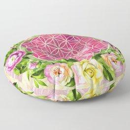 Flower of life in watercolor flower wreath Floor Pillow