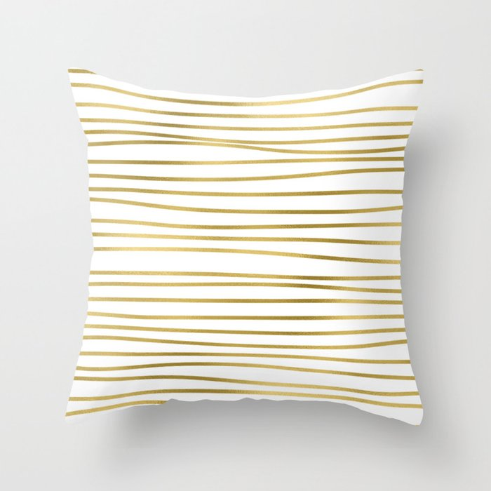 Small simply uneven luxury gold glitter stripes on clear white - horizontal pattern Throw Pillow