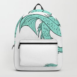 Mermaid Grappling With Sea Serpent Drawing Color Backpack