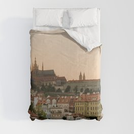 Prague Castle and Vltava river at sunset Comforters