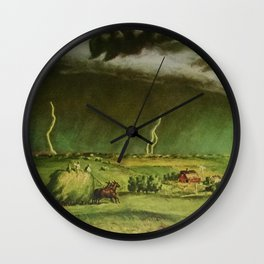 The Line Storm - Thunder and Lightning on the American Plains by John Steuart Curry Wall Clock