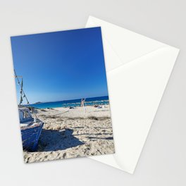A boat on the beach of Plaka in Naxos island, Greece Stationery Cards