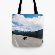 Black Bear Crossing Tote Bag