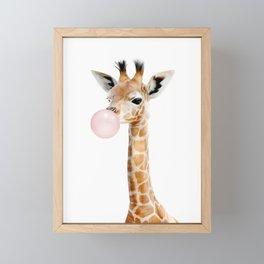 Bubble Gum Baby Giraffe Framed Mini Art Print