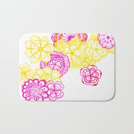 28. Colourful Pink and Yellow Flower in Henna World Bath Mat