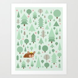 The deer in the summer forest Art Print