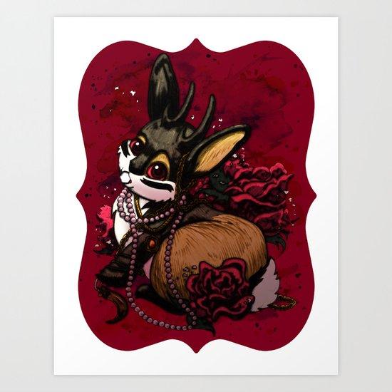 Jackalope, Pearls, and Roses Art Print