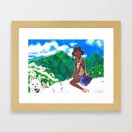 Girl on Wolf Framed Art Print