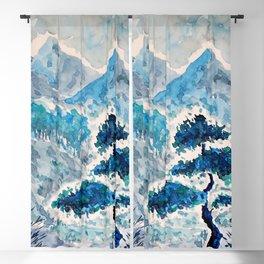 Blue Watercolor Landscape Blackout Curtain