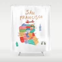 san francisco map Shower Curtains featuring map of san francisco by sarah green