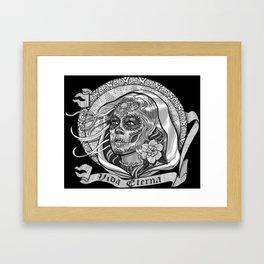 Black and White Catrina (Day of the Dead) Framed Art Print