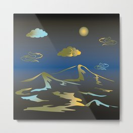 Mountains and hills in the moonlight. Metal Print