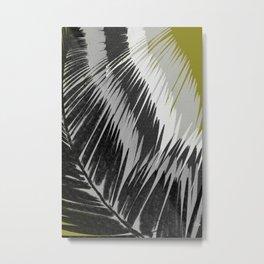 Palm Leaves Gray Metal Print