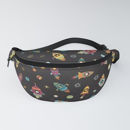 Space Ship Animals Seamless Pattern Fanny Pack