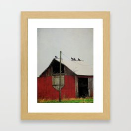 Vultures on the Red Barn Roof Framed Art Print