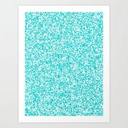 Tiny Spots - White and Cyan Art Print