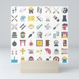CUTE NINJA PATTERN Mini Art Print