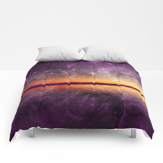 Violet Stars And Sunset Lake Comforters