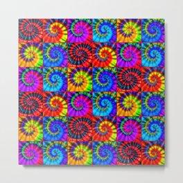 Spiral Tie Dye Checkerboard Metal Print