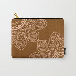 Mandala Tulips in Brown Carry-All Pouch