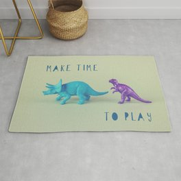 Make Time to Play - Blue and Purple Dino on Green Rug