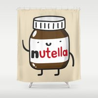 nutella Shower Curtains featuring HAPPY NUTELLA IS HAPPY by Agustin Flowalistik