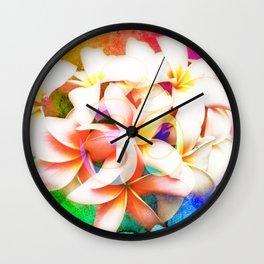 Yoga Om Frangipani Pagoda Flower Wall Clock