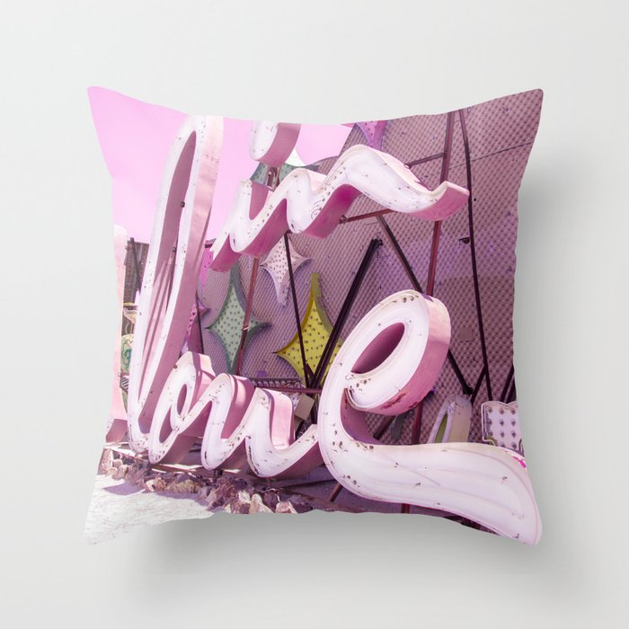 """Pink """"In Love"""" Sign at the Neon Museum in Las Vegas, Nevada Throw Pillow"""